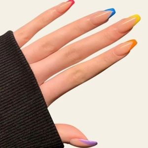 Rainbow Colorful French Style Press On Nails